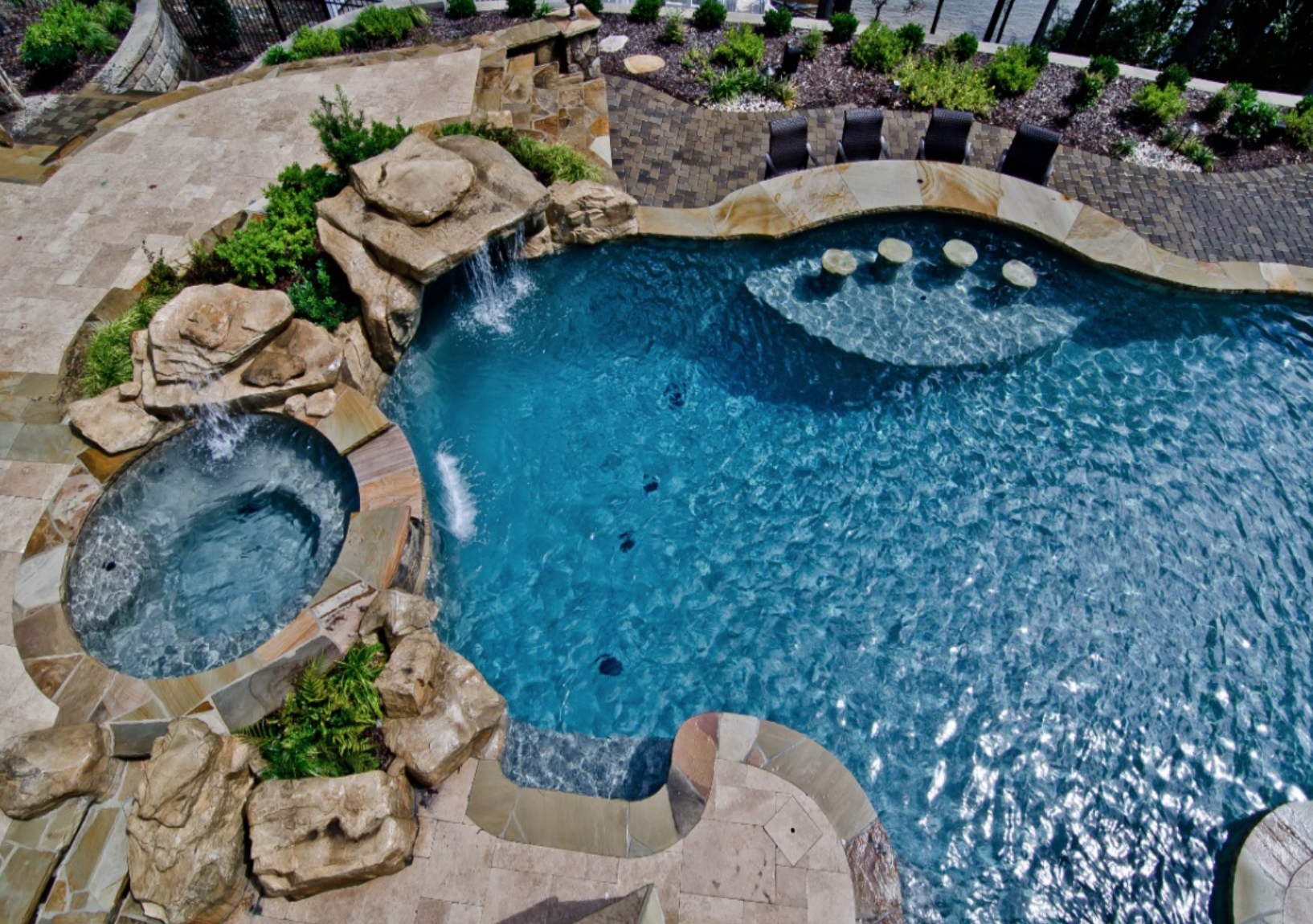 Get That Resort Style Living With A Pool And Raised Spa, Waterfall, Swimup  Bar