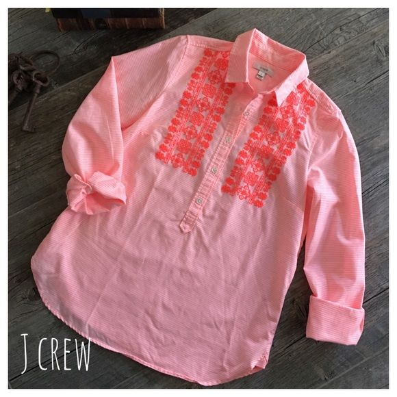 J Crew embroidered neon popover