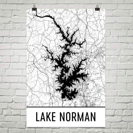 Lake Norman Nc Art And Maps Lake House Wall Art Lake Art Lake Map