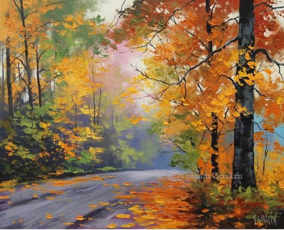 Autumn Painting Tree Oil Paintings Tree Landscapes Fall Scenes Etsy Oil Painting Trees Autumn Painting Autumn Art