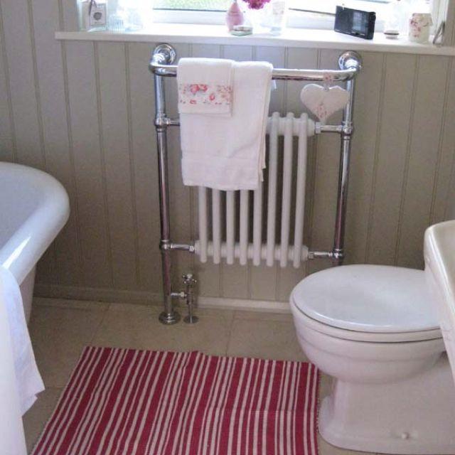 Traditional bathroom radiators go well with bone farrow for Farrow and ball bone