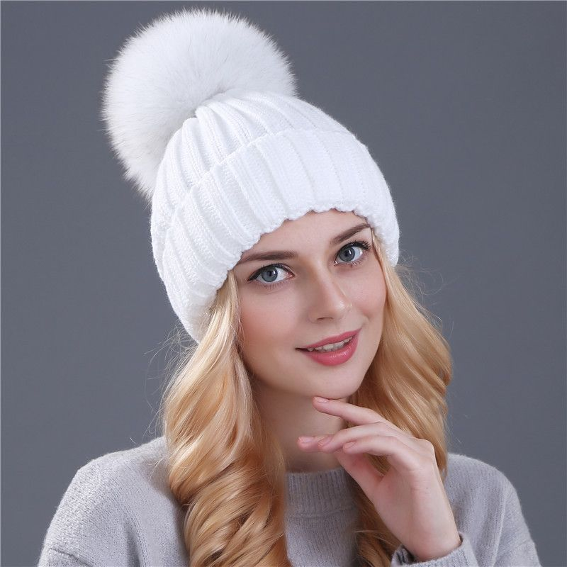 Xthree real fox fur pom poms ball Keep warm winter hat for women girl  s  wool hat knitted beanies cap thick female cap f0800faec30c