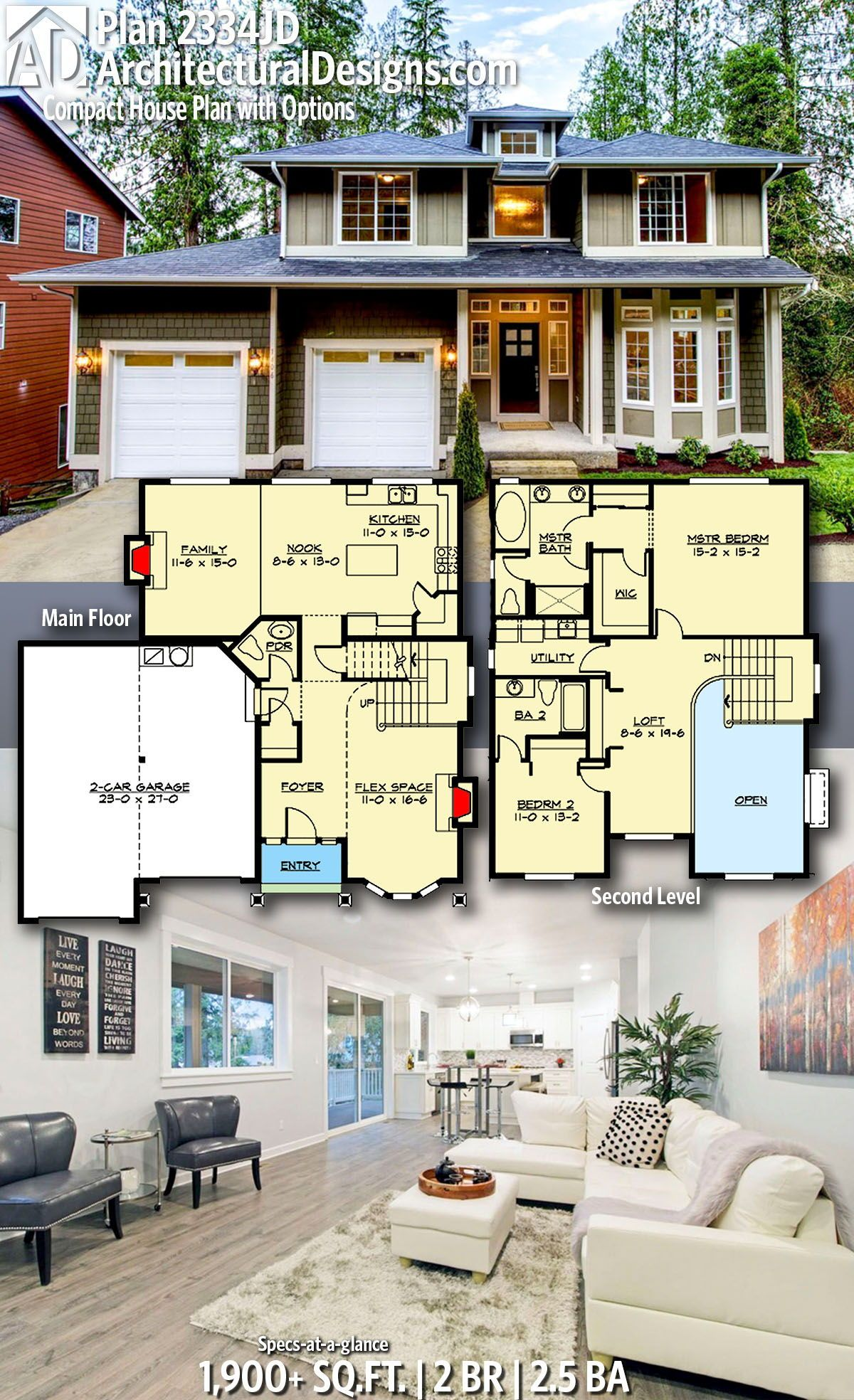 Plan 2334jd Compact House Plan With Options House Plans House Plans Mansion 3d House Plans