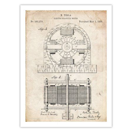 """Tesla Electric Motor Invention Poster 1888 Patent Art Handmade Giclée Gallery Print Video Game Parchment (18"""" x 24"""")"""