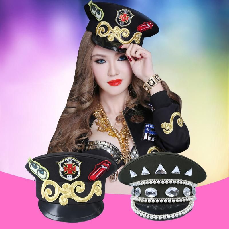 acb755d3a Nightclub Bar Ds Costumes Uniforms Temptation Hats Modern Jazz Dance Stage  Band Big Hat Cover Hat