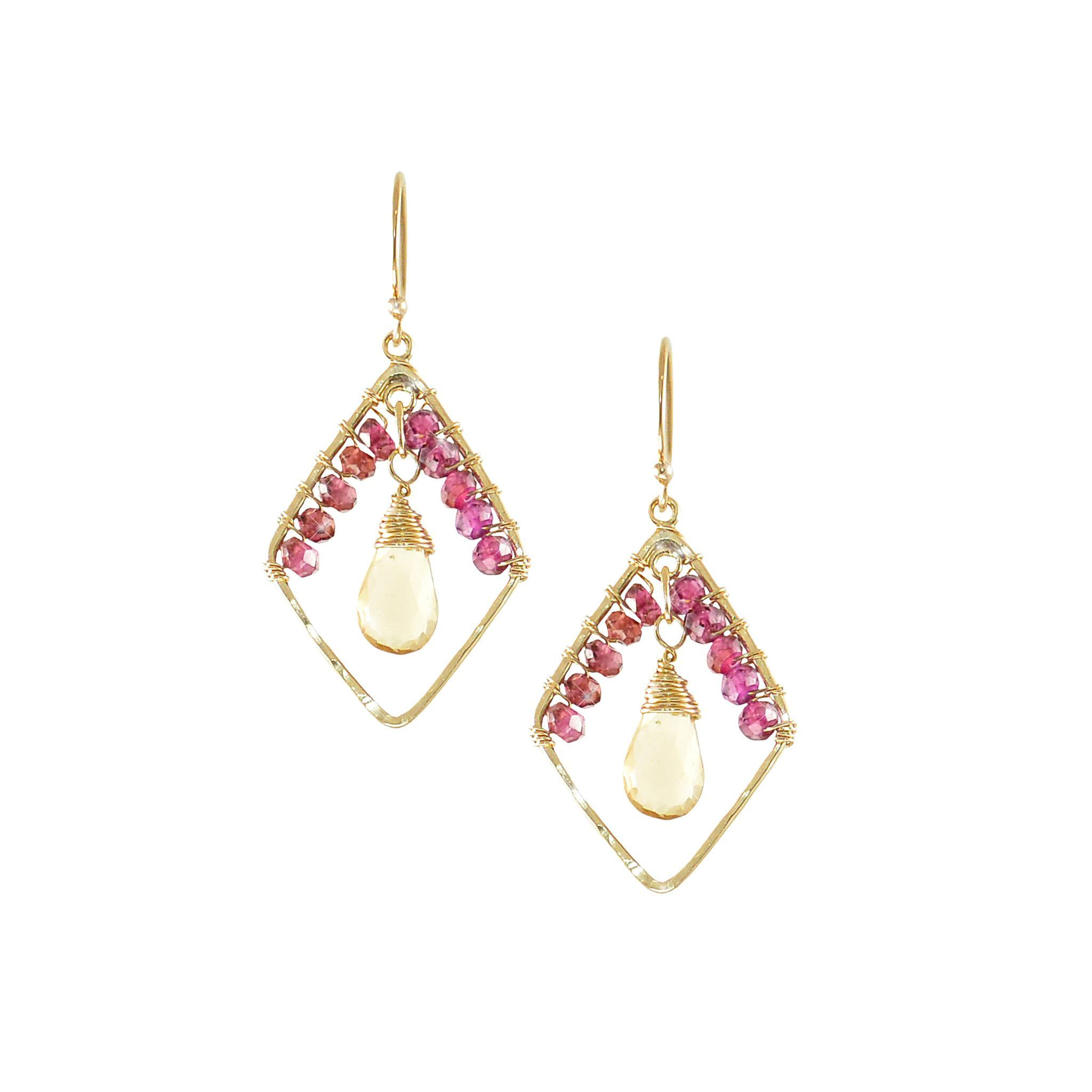 gold earrings rhodolite diamond rhodelite halo rose with garnet in tw