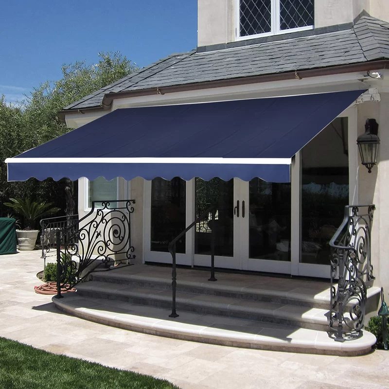 Manual 13 Ft W X 8 Ft D Polyester Retractable Standard Patio Awning In 2020 Patio Sun Shades Patio Awning Patio Garden