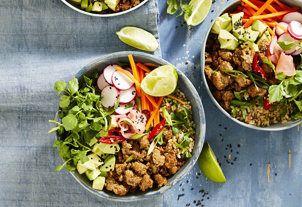 Ginger sesame turkey rice bowls | Recipe | Turkey mince ...