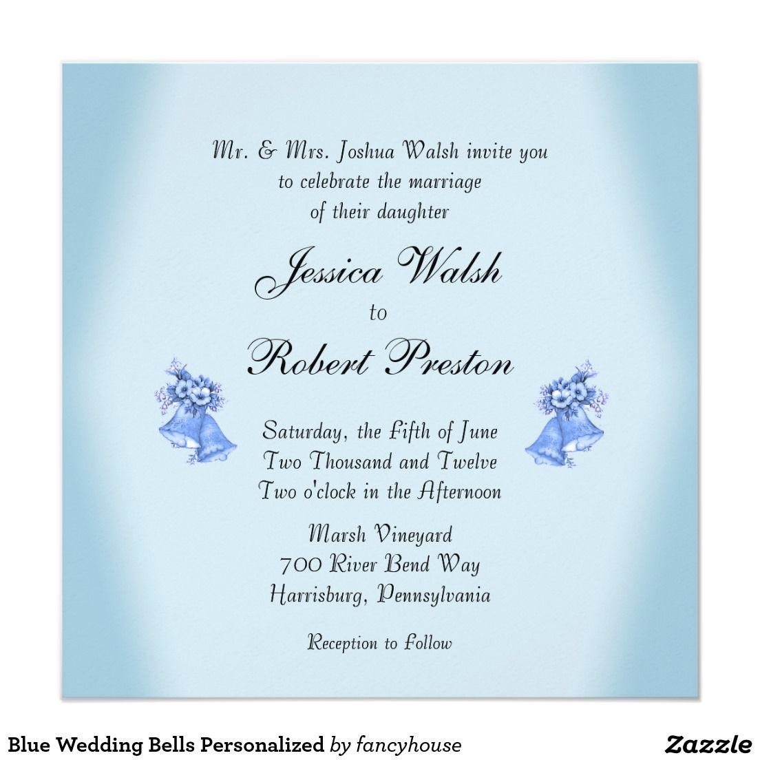 Blue wedding bells invitation pinterest wedding bells weddings blue wedding bells personalized invitation stopboris Images