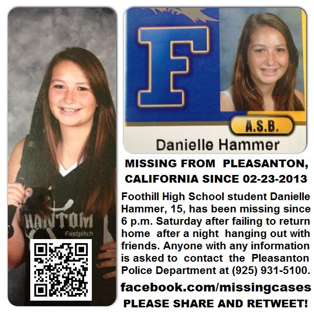 WONDERFUL UPDATE:Danielle Hammer was found safe :) Praise God