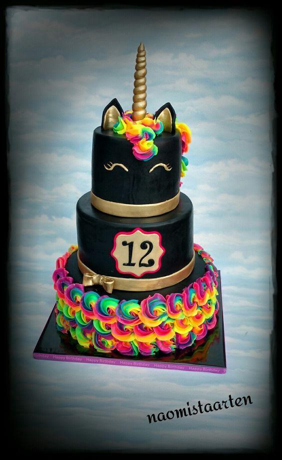 Incredible Black Unicorn Unicorn Birthday Cake Creative Birthday Cakes Birthday Cards Printable Riciscafe Filternl