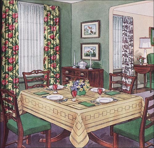 1950s Traditional Dining Room By American Vintage Home Via Flickr