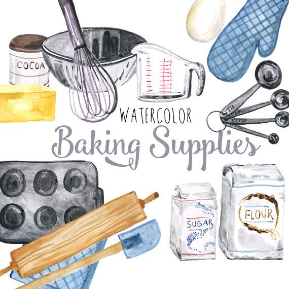 Watercolor Baking Supplies Culinary Clipart Baking Clip Art