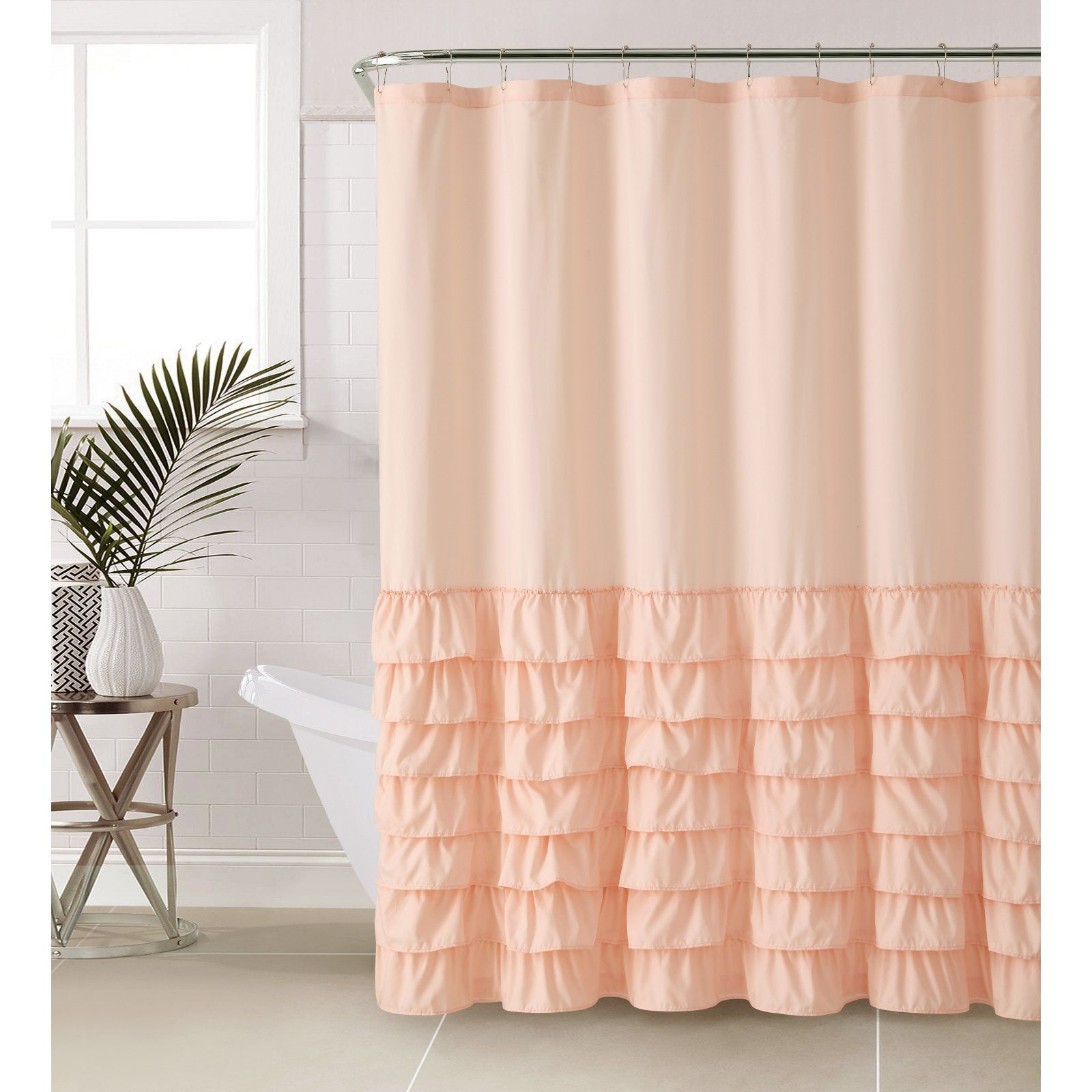 Vcny Melanie Shower Curtain Light Pink Ruffle Shower Curtains