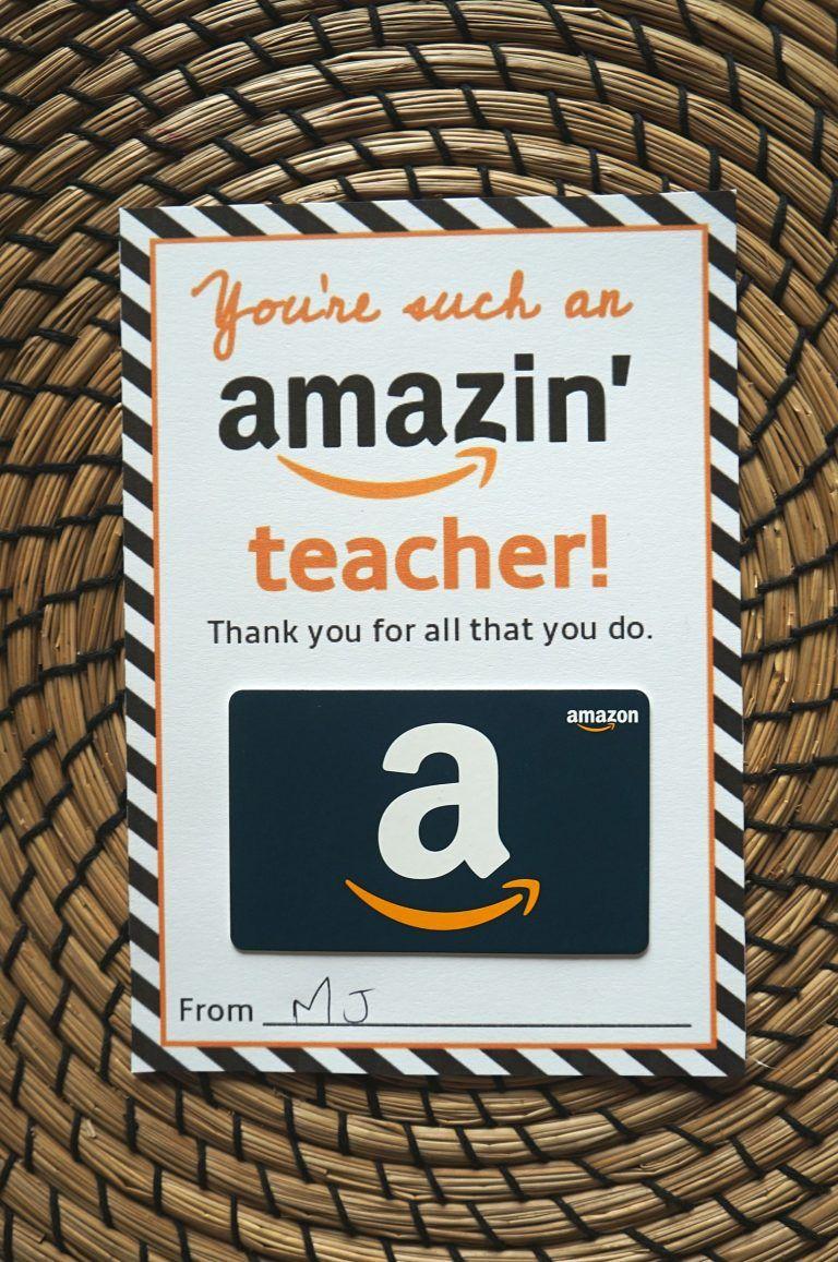 Free amazon teacher gift card printable template give
