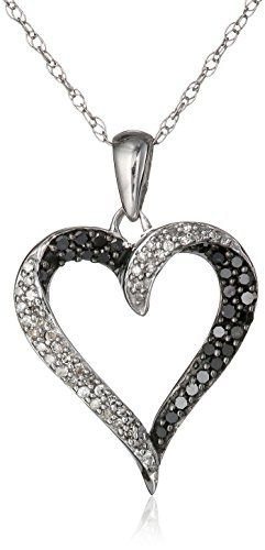 10k White Gold Black and White Diamond Heart Pendant Necklace (1/3 cttw), 18″ by Amazon Curated Collection - See more at: http://blackdiamondgemstone.com/jewelry/necklaces/pendants/10k-white-gold-black-and-white-diamond-heart-pendant-necklace-13-cttw-18-com/#!prettyPhoto