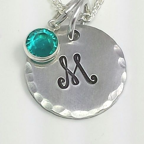 Hand Stamped Custom Initial Pendant W/ Birthstone
