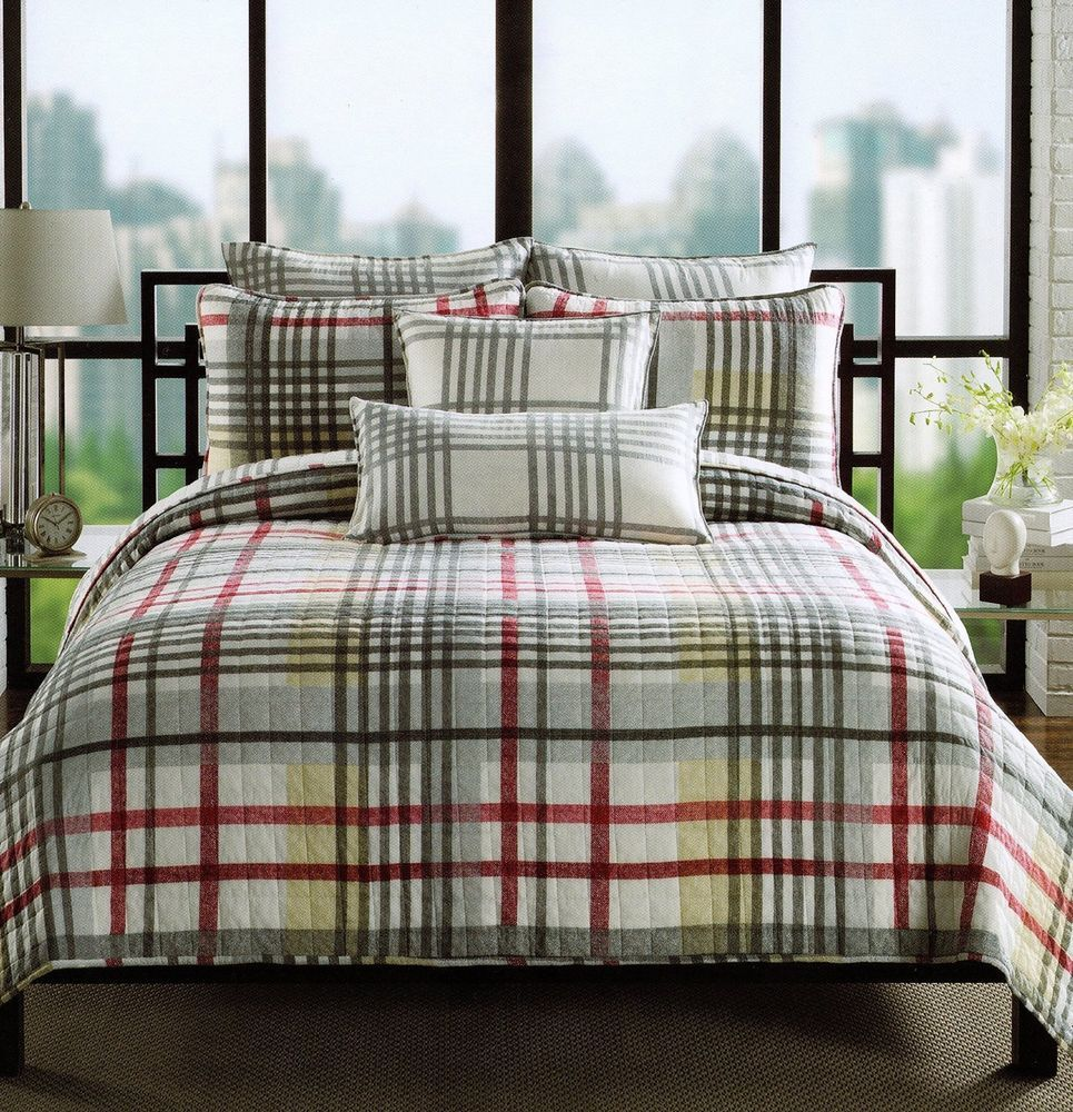 Max Studio Herringbone Plaid Quilt Set Cotton Full Queen Coverlet Red Gray  In Home U0026 Garden, Bedding, Quilts, Bedspreads U0026 Coverlets