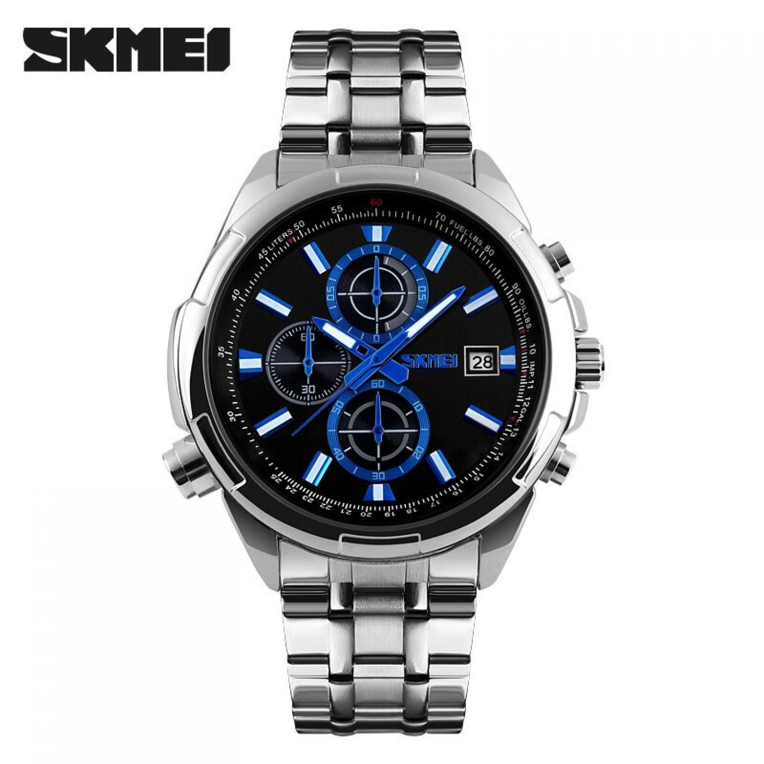 Jam Tangan Pria Skmei Analog Casual Men Stainless Strap Original 9107cs