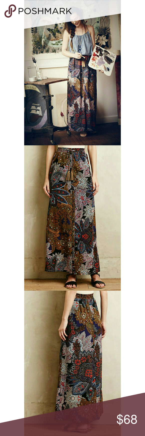 Anthropologie Petaled Paisley Maxi Skirt Vanessa Virginia Anthropologie Petaled Paisley Maxi Skirt.  Pre loved but kept in great condition! All clothes are washed and steamed pressed before shipping :) Anthropologie Skirts Maxi