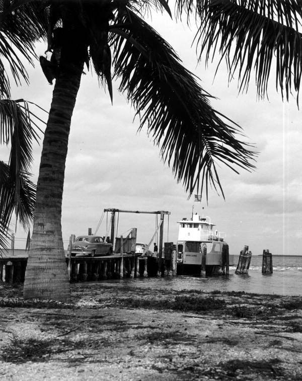 "Car ferry ""Yankee Clipper"" loading automobiles - Sanibel Island, Florida  Before there was a  causeway bridge."