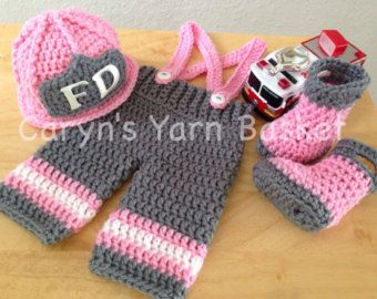 Ready To Ship Baby Girl Firefighter Fireman Pink Hat
