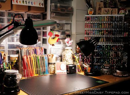 Rubber Stamping Desk Crafts, Stamps, Markers ShinHan Touch Twin Copic Prismacolor