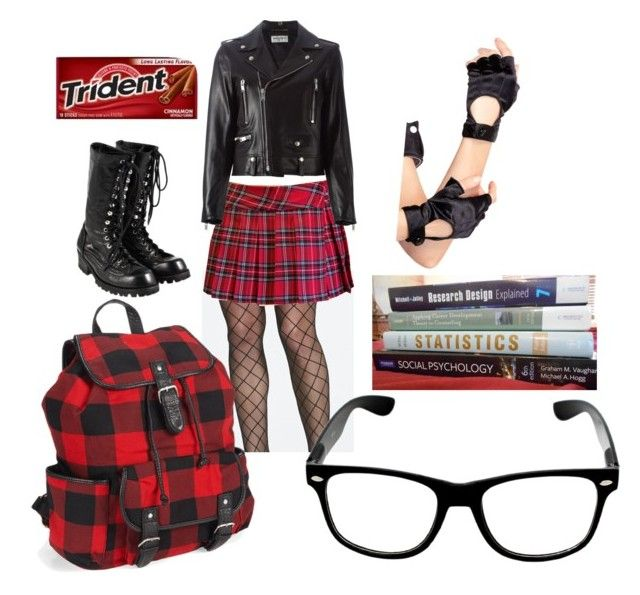 """""""School Challenge Accepted"""" by grlgoneawol ❤ liked on Polyvore featuring OROBLU, Leg Avenue, Yves Saint Laurent, Comme des Garçons and Aéropostale"""
