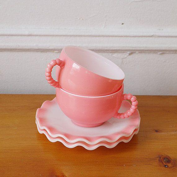 Adorable 50s Pink Milk Glass Tea Cup Set Etsy Tea Cups Tea Cups Vintage Glass Tea Cups