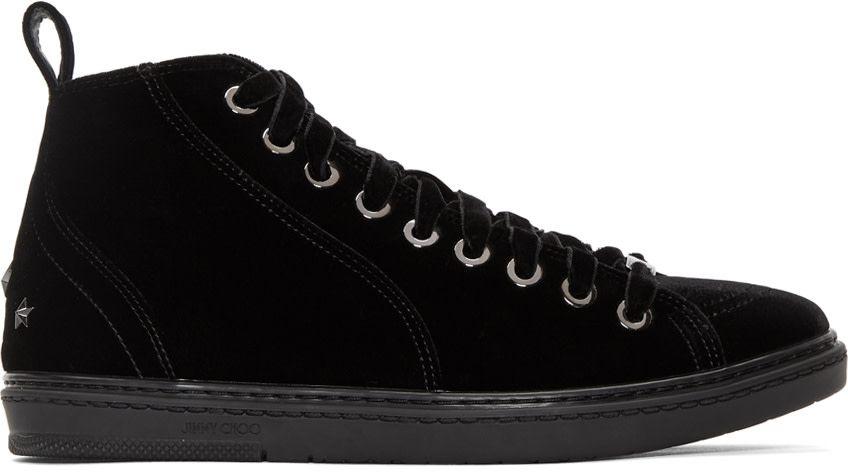 Prada Grey Velvet Colt High-Top Sneakers THjEl6cO