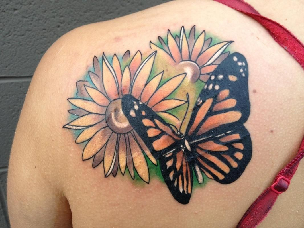 Shoulder tattoos for women butterfly and flowers shoulder tattoos
