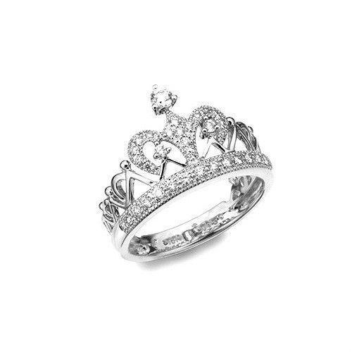 27c68736d CROWN Prince Princess Queen Royal Tiara Diamond Ring Wedding Birthday Gift