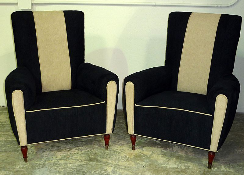 Lovely 1940   Pair Of Continental Art Deco Upholstered Club Chairs.  @designerwallace
