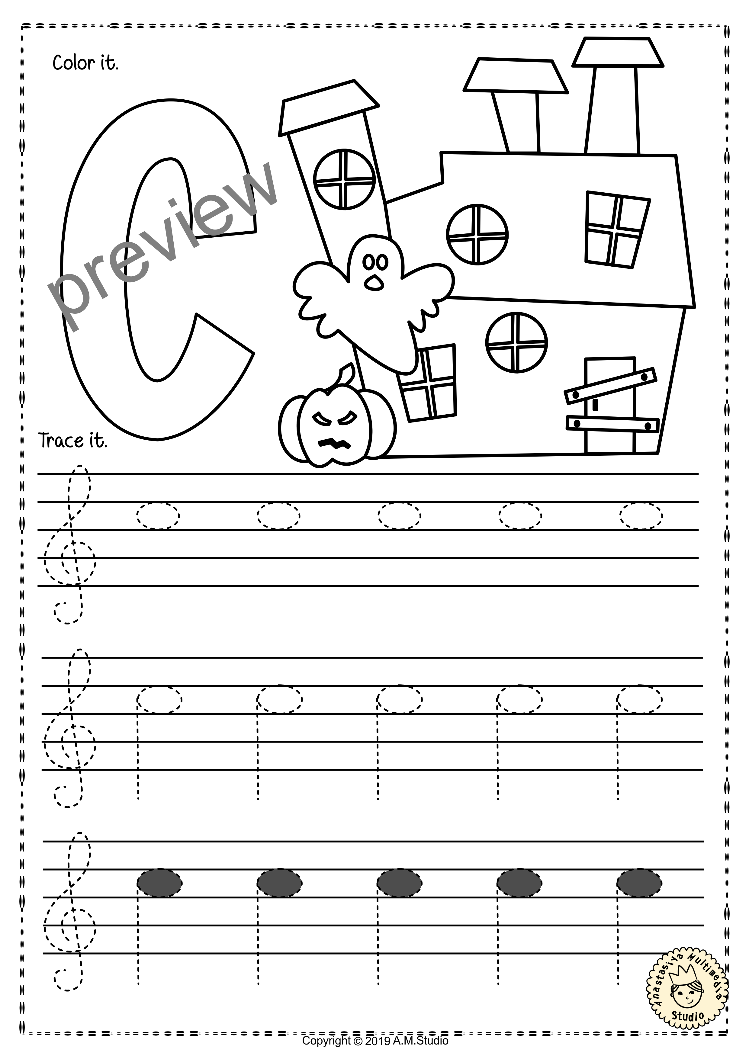 Treble Clef Tracing Music Notes Worksheets For Fall With