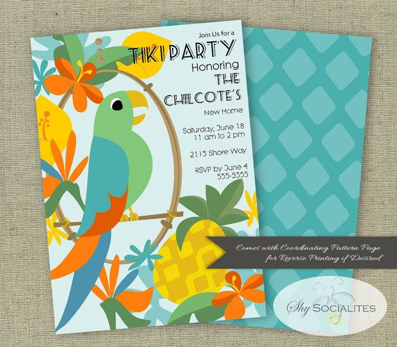 tiki party invitation parrot invitation macaw tropical pool