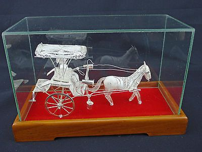 Vintage Silver Filigree Horse & Carriage with Driver  Marked 925