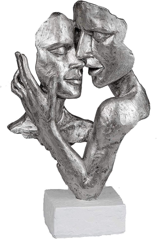 formano Deko Figur Büste Paar Silber auf weißem Sockel Elegante