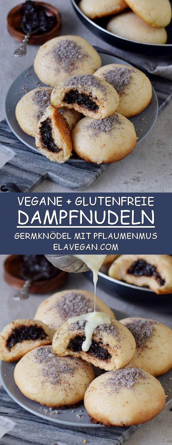 Rezept für glutenfreie, vegane Dampfnudeln mit Pflaumenmus, Vanillesoße und Mohn. Diese Germknödel sind ein leckeres Dessert aus Hefeteig #vegan #pflanzlich #glutenfrei #dampfnudeln #germknödel | elavegan.com/de #veganerezepte