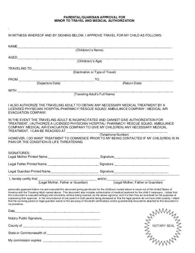 Child Travel Consent Form Permit Authorization Letter Sample