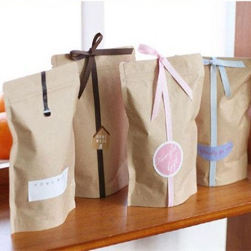 ab7285aa9e Standup Greaseproof Craft Paper Gift Bags Food Paper Bags Kraft Paper Bags  Packaging For Cookies 50pcs/lot 11*18.5+3cm