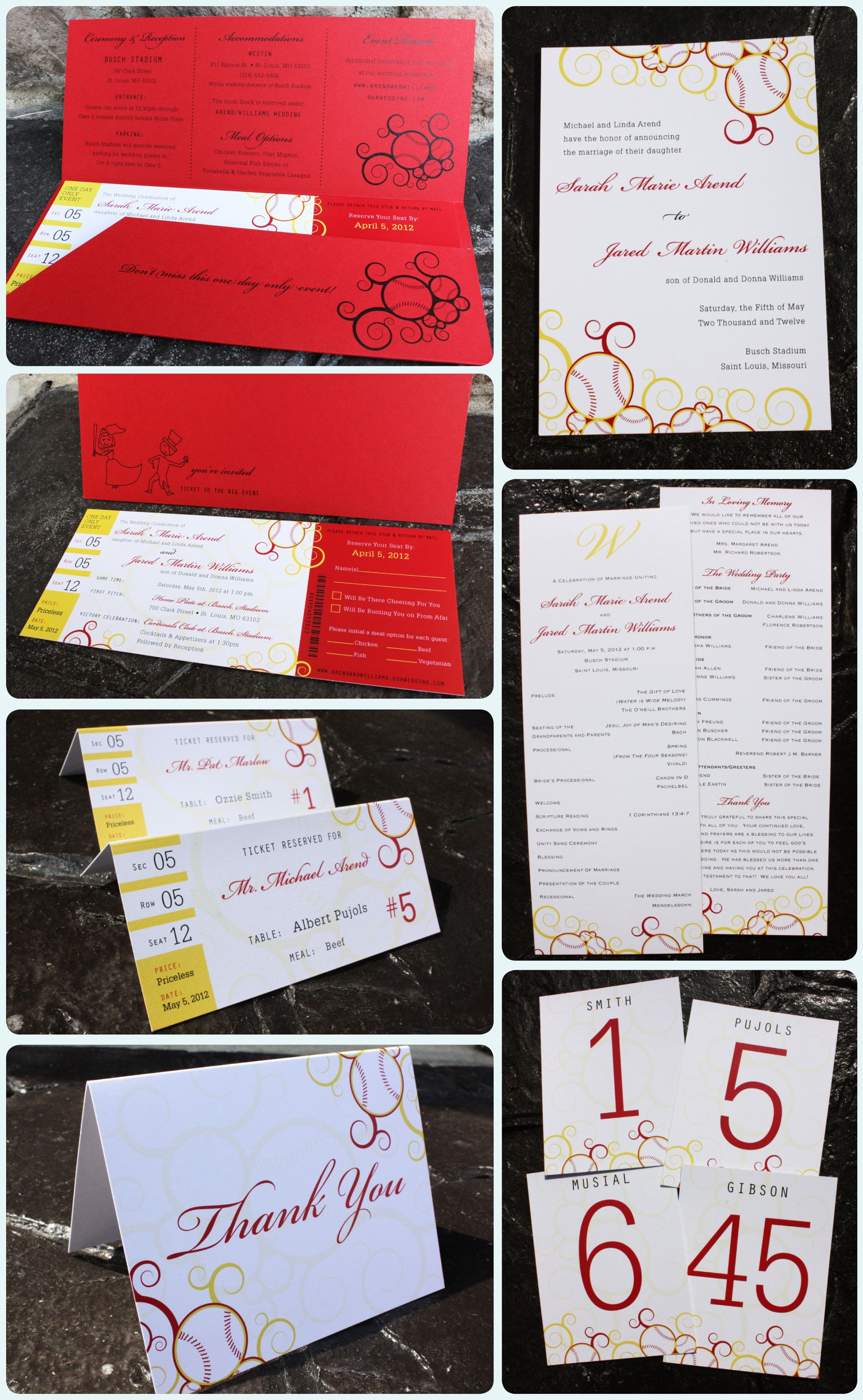 Red and Yellow Swirl Baseball Ticket Wedding Invitations ...