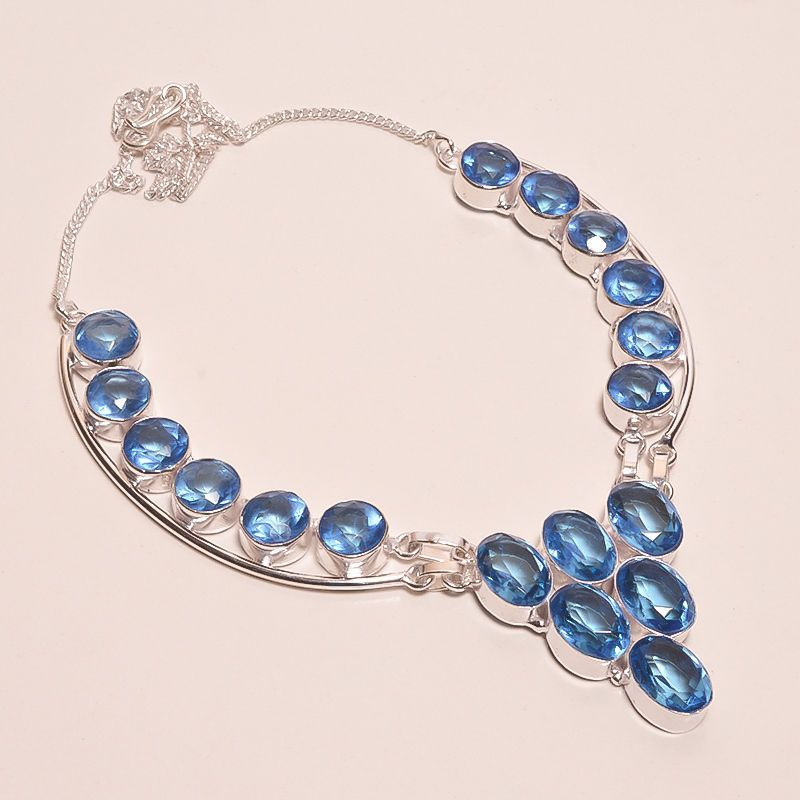 FACETED SWISS BLUE TOPAZ .925 SILVER HANDMADE NECKLACE JEWELRY JA547