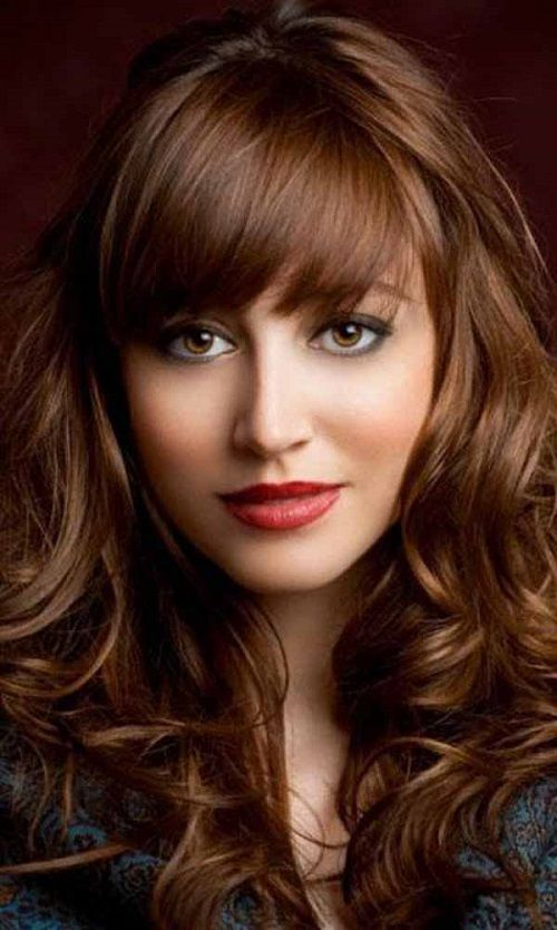 50 shades of brown hair color Ideas for 2015, Long golden brown hairstyle with bangs  Hair Fun