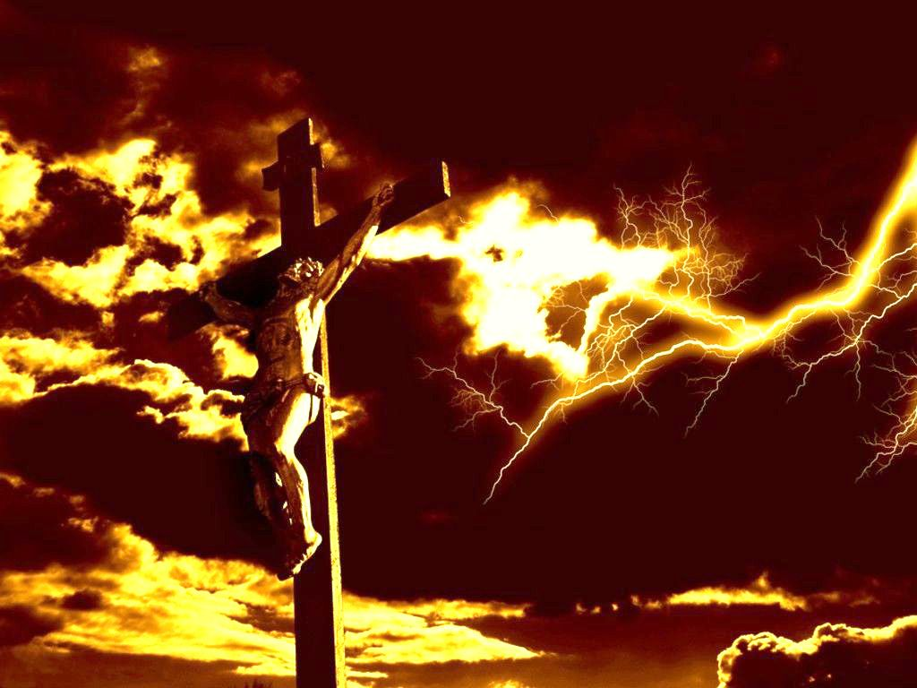 dramatic lightning over christ on the cross desktop wallpaper