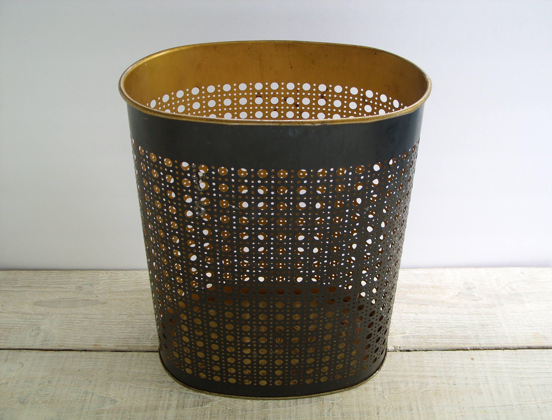 Vintage Metal Waste Basket ~ Mid Century Weibro Black U0026 Gold Office  Accessories ~ Trash Garbage Can Wastebasket