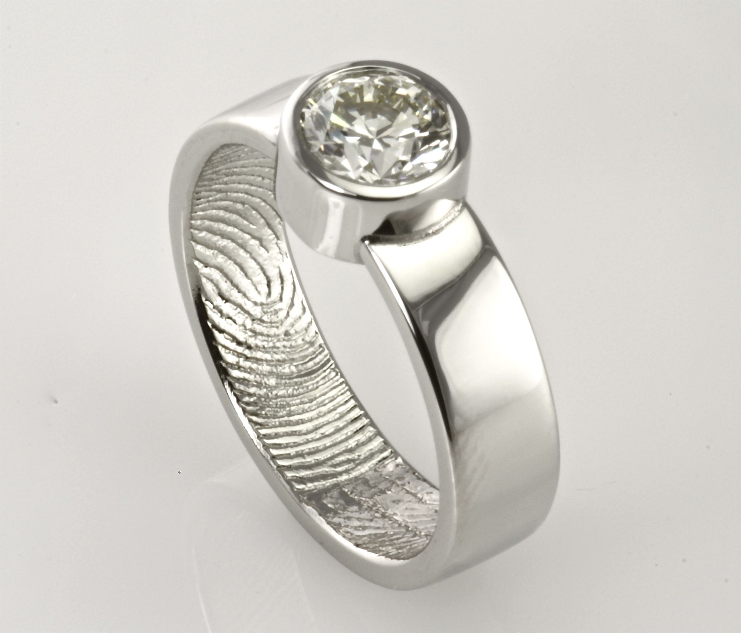 fingerprint cheshire shaped cooljoolz custom wedding rings