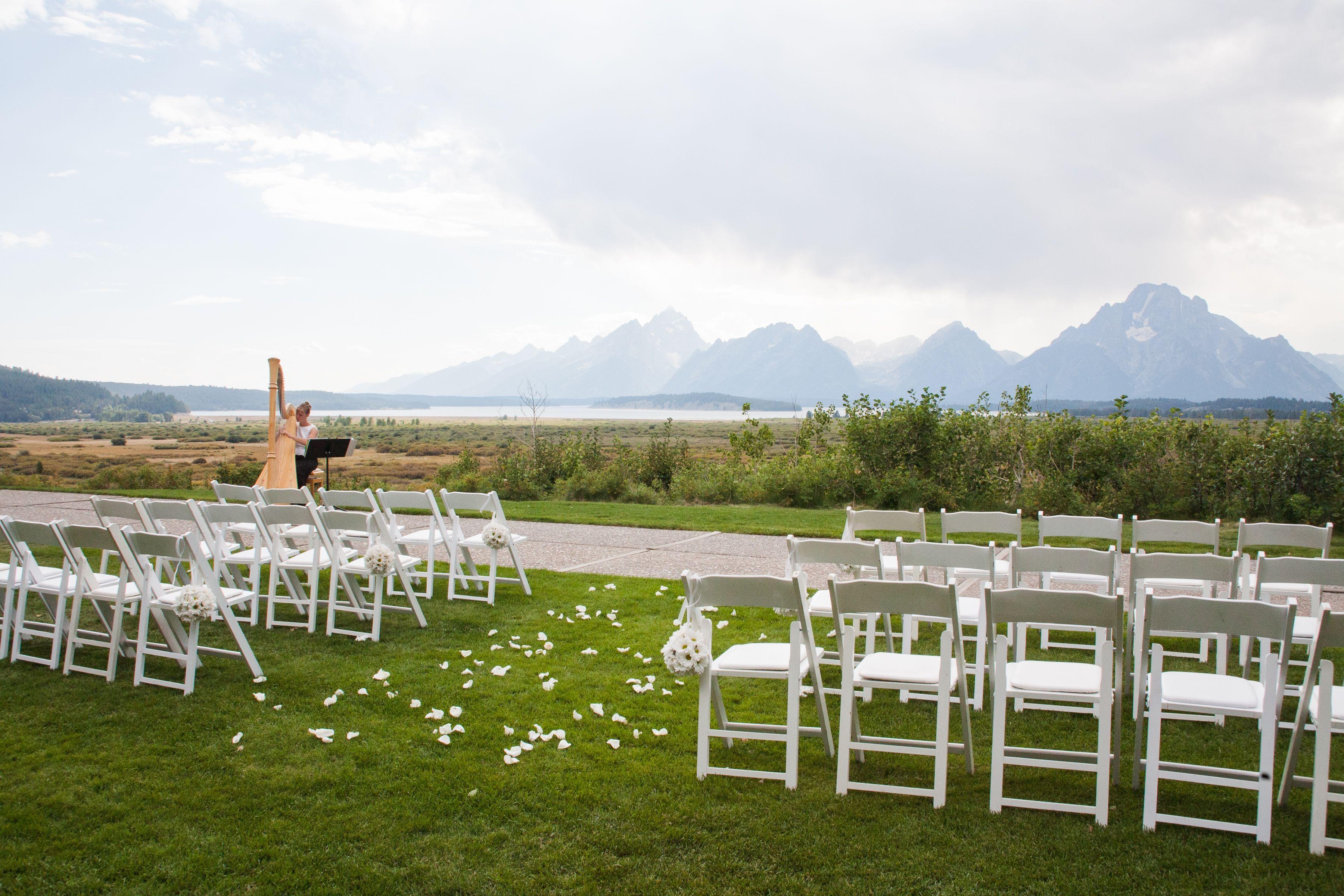 Wedding ceremony at Grand Teton Lodging Company in Jackson