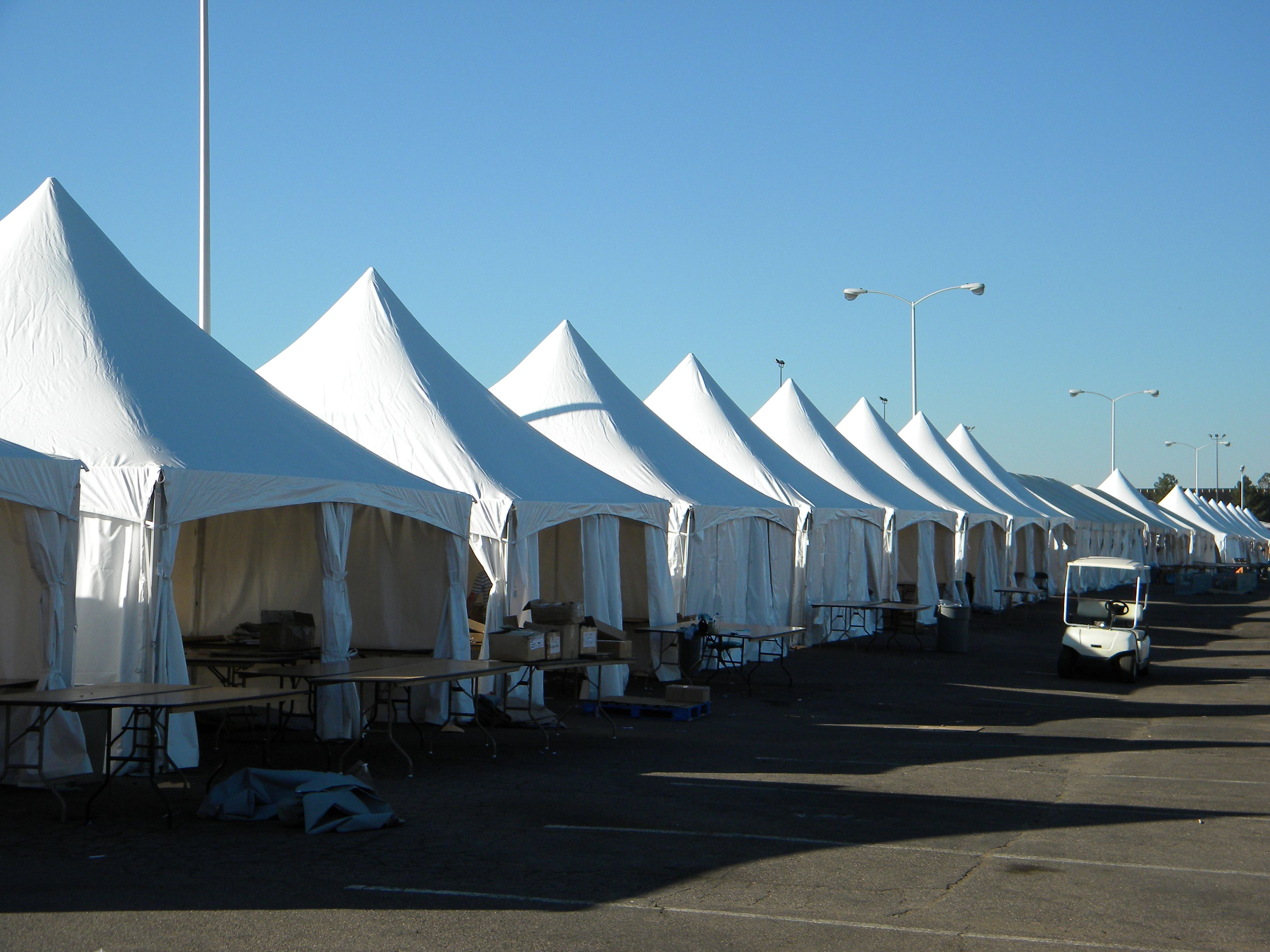 Our Tension Top tents are anchored at the base of each leg, meaning there are no guy ropes with which to contend around the perimeter; the center pole is elevated and out of the way. These tents are most commonly used for parties, but they can be used for any event.