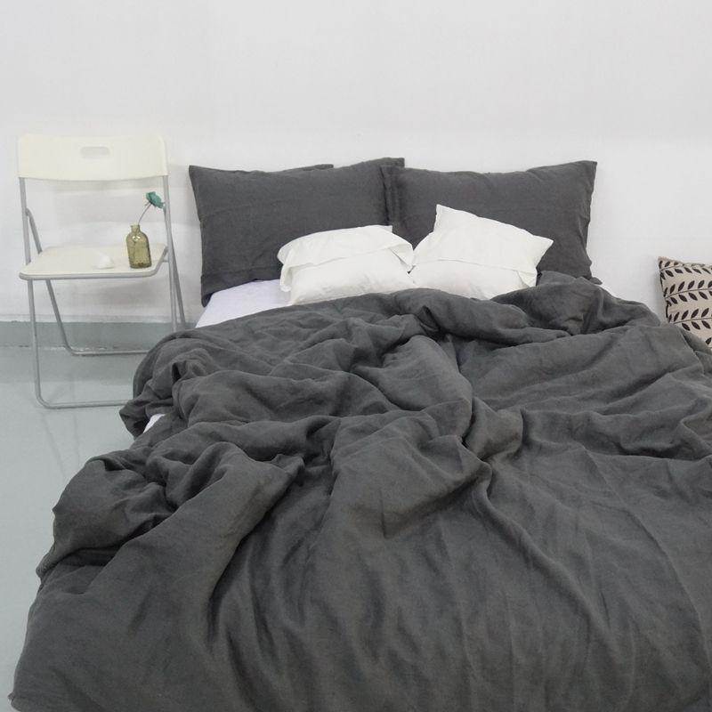 charcoal dark grey 4pcs linen bedding
