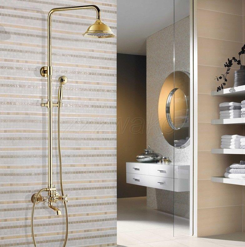 Luxury Polished Gold Brass Bathroom Rain Shower Faucet Set Tub Mixer Tap Zgf343 Home Stuff Improvement Garden Wasserhahn Gold Bad Und Wasserhahn Bad